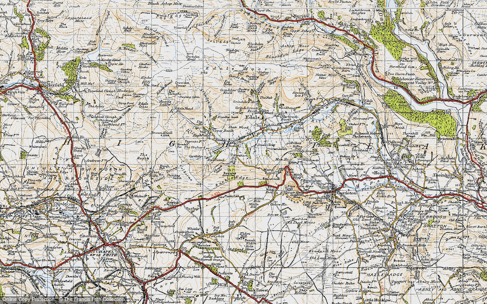 Old Map of Barber Booth, 1947 in 1947