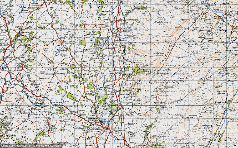 Old Map of Historic Map covering Ashdale Gill in 1947