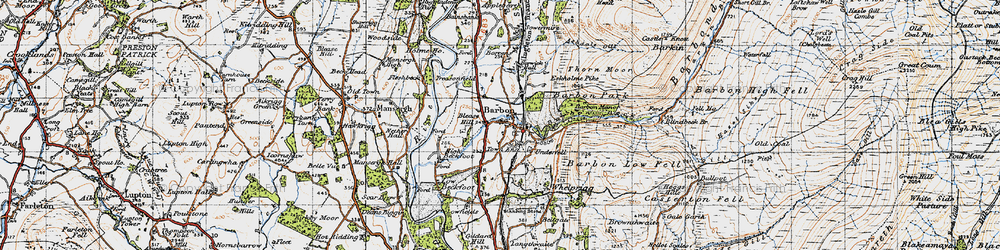Old map of Barbon in 1947