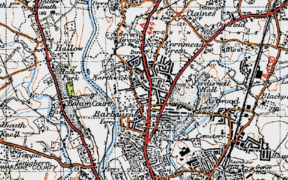 Old map of Barbourne in 1947