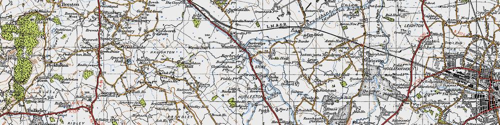 Old map of Barbridge in 1947