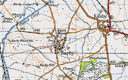 Old map of Barby Hill in 1946