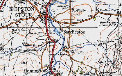 Old map of Barcheston in 1946