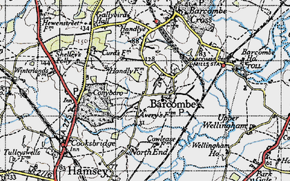 Old map of Averys in 1940