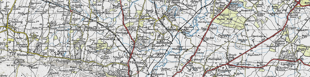 Old map of Barcombe in 1940