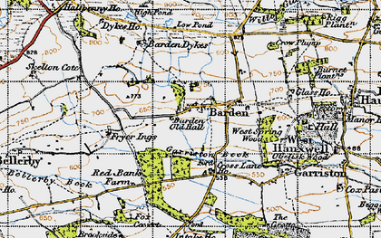 Old map of Barden Old Hall in 1947