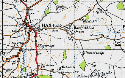Old map of Bardfield End Green in 1946