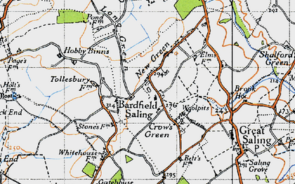 Old map of Bardfield Saling in 1946
