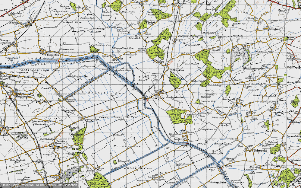 Old Map of Historic Map covering Bardney Lock in 1946