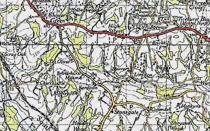 Old map of Bardown in 1940