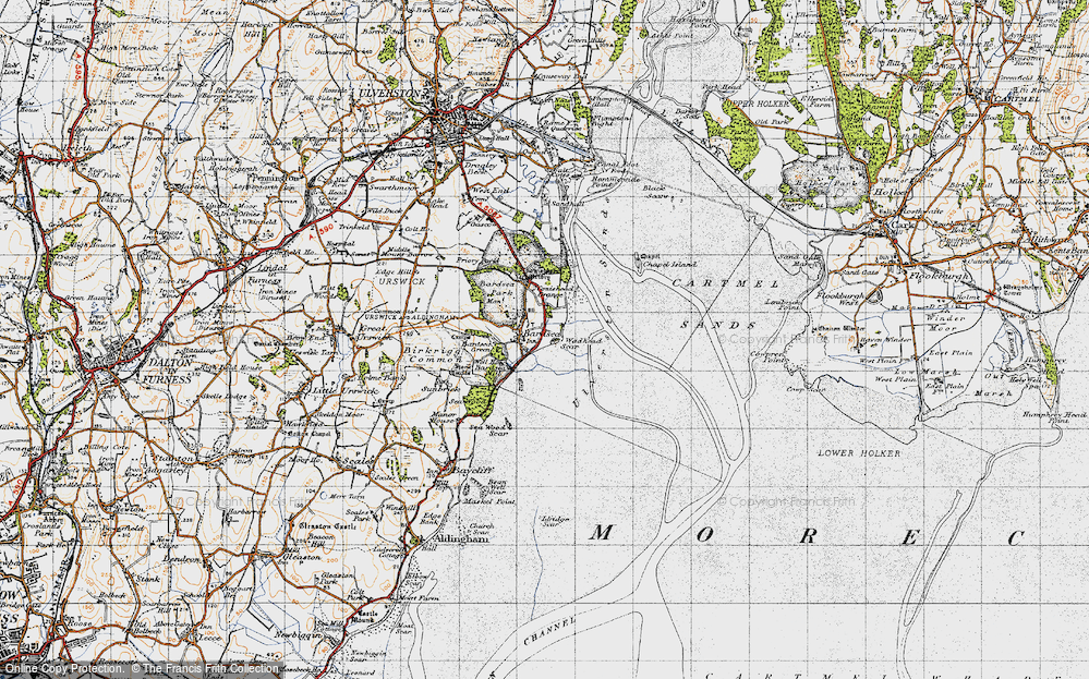 Old Map of Historic Map covering Bardsey Green in 1947
