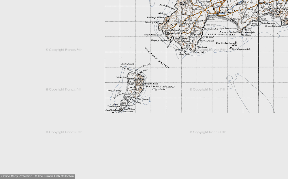 Old Map of Historic Map covering Bardsey Sound in 1947