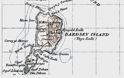 Old map of Bardsey Island in 1947