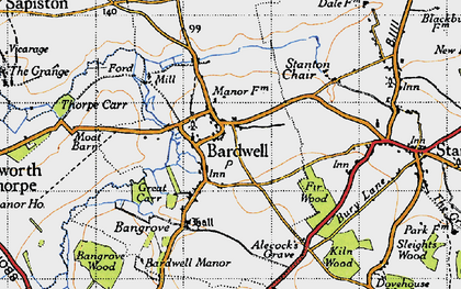 Old map of Bardwell in 1946