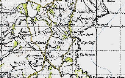 Old map of Bareppa in 1946