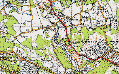 Old map of Barford in 1940