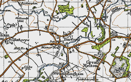Old map of Barford in 1945