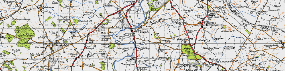 Old map of Barford in 1947