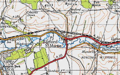 Old map of Barford St Martin in 1940