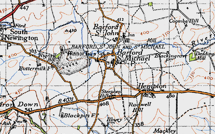 Old map of Barford St Michael in 1946