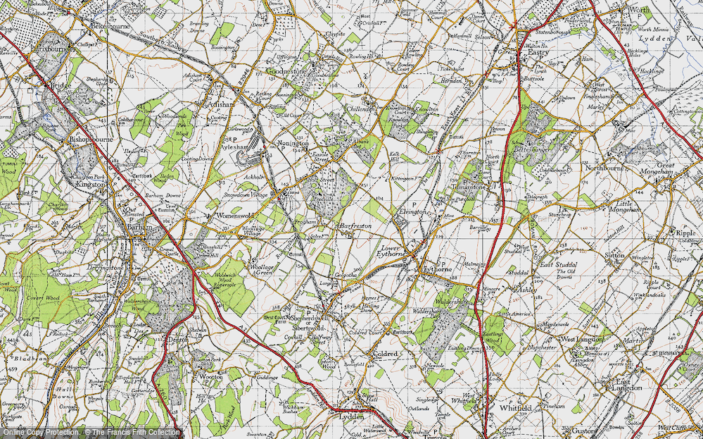 Old Map of Barfrestone, 1947 in 1947
