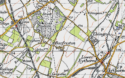 Old map of Barfrestone in 1947