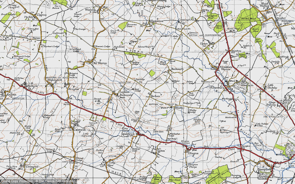 Old Map of Barham, 1946 in 1946