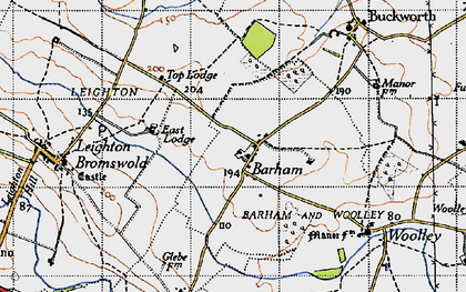 Old map of Barham in 1946