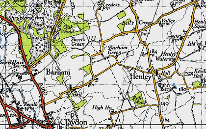 Old map of Barham Green in 1946