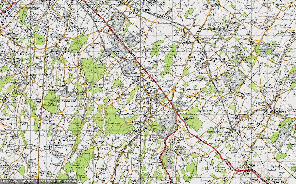 Old Map of Barham, 1947 in 1947