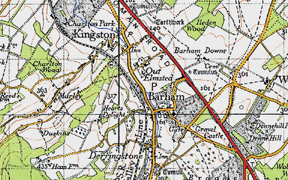 Old map of Barham in 1947