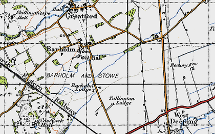 Old map of Barholm in 1946