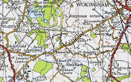 Old map of Barkham Square in 1940