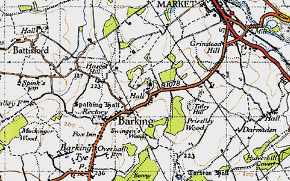 Old map of Barking in 1946