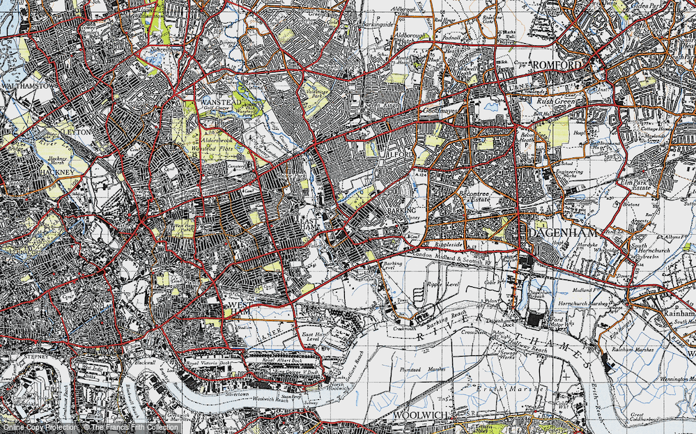 Old Map of Barking, 1946 in 1946