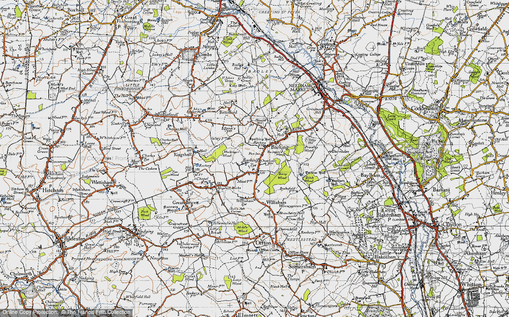 Old Map of Barking Tye, 1946 in 1946