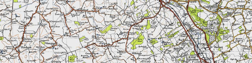 Old map of Barking Tye in 1946