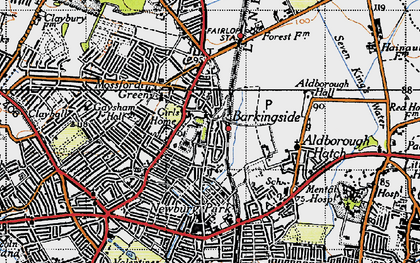 Old map of Barkingside in 1946