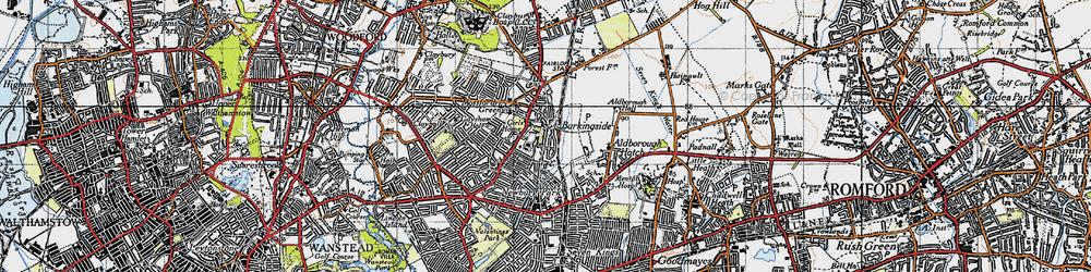 Old map of Barkingside in 1946