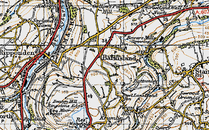 Old map of Barkisland in 1947