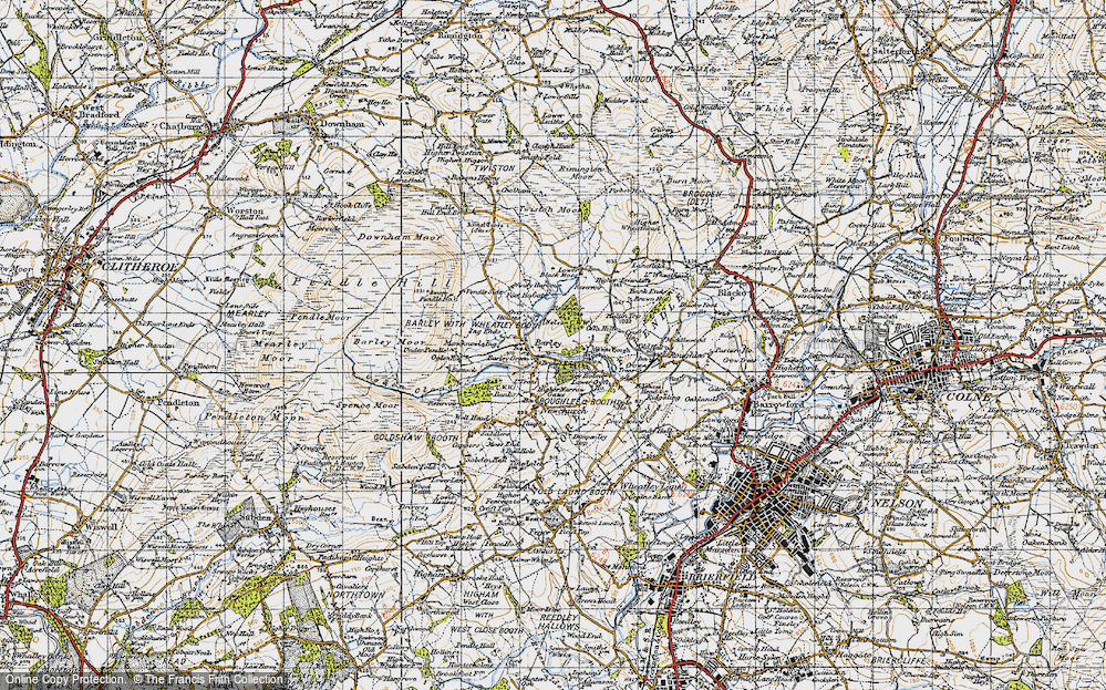 Old Map of Historic Map covering Aitken Wood in 1947