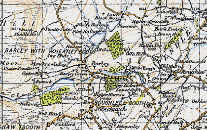 Old map of White Hough in 1947