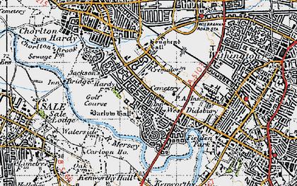 Old map of Barlow Moor in 1947