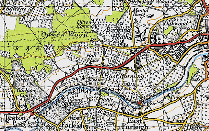 Old map of Barming in 1946