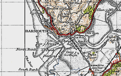 Old map of Barmouth in 1947