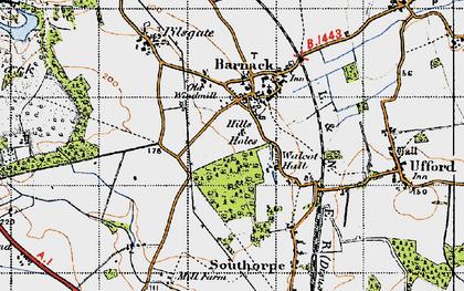 Old map of Barnack in 1946