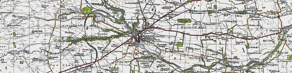 Old map of Barnard Castle in 1947