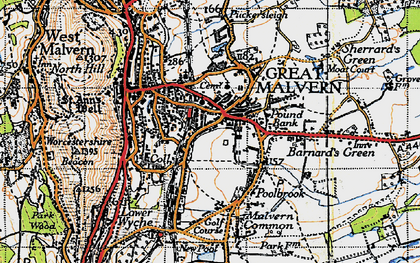 Old map of Barnard's Green in 1947