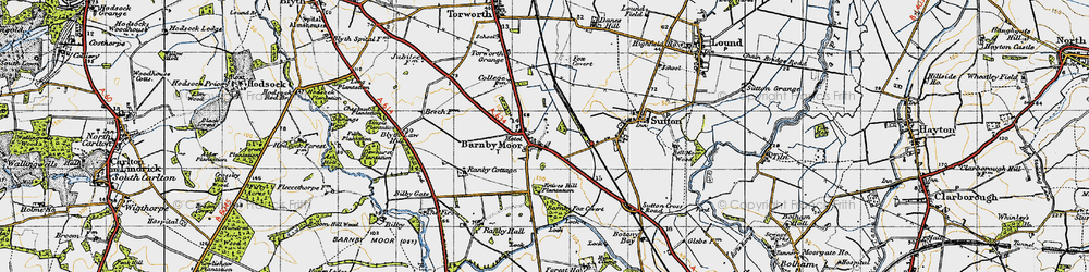 Old map of Barnby Moor in 1947