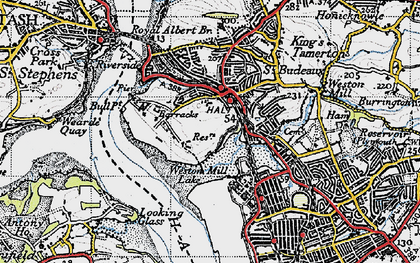 Old map of Weston Mill Lake in 1946